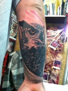 cool_realistic_black_and_grey_owl_portrait_arm_tattoo_by_david_meek_tattoos_tucson_arizona