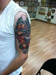 tough_manly_cool_realistic_traditional_illustrative_indian_girl_head_half_sleeve_full_color_arm_tattoo_david_meek_tattoos_true_til_death_tattoo_company_ashtabula_ohio