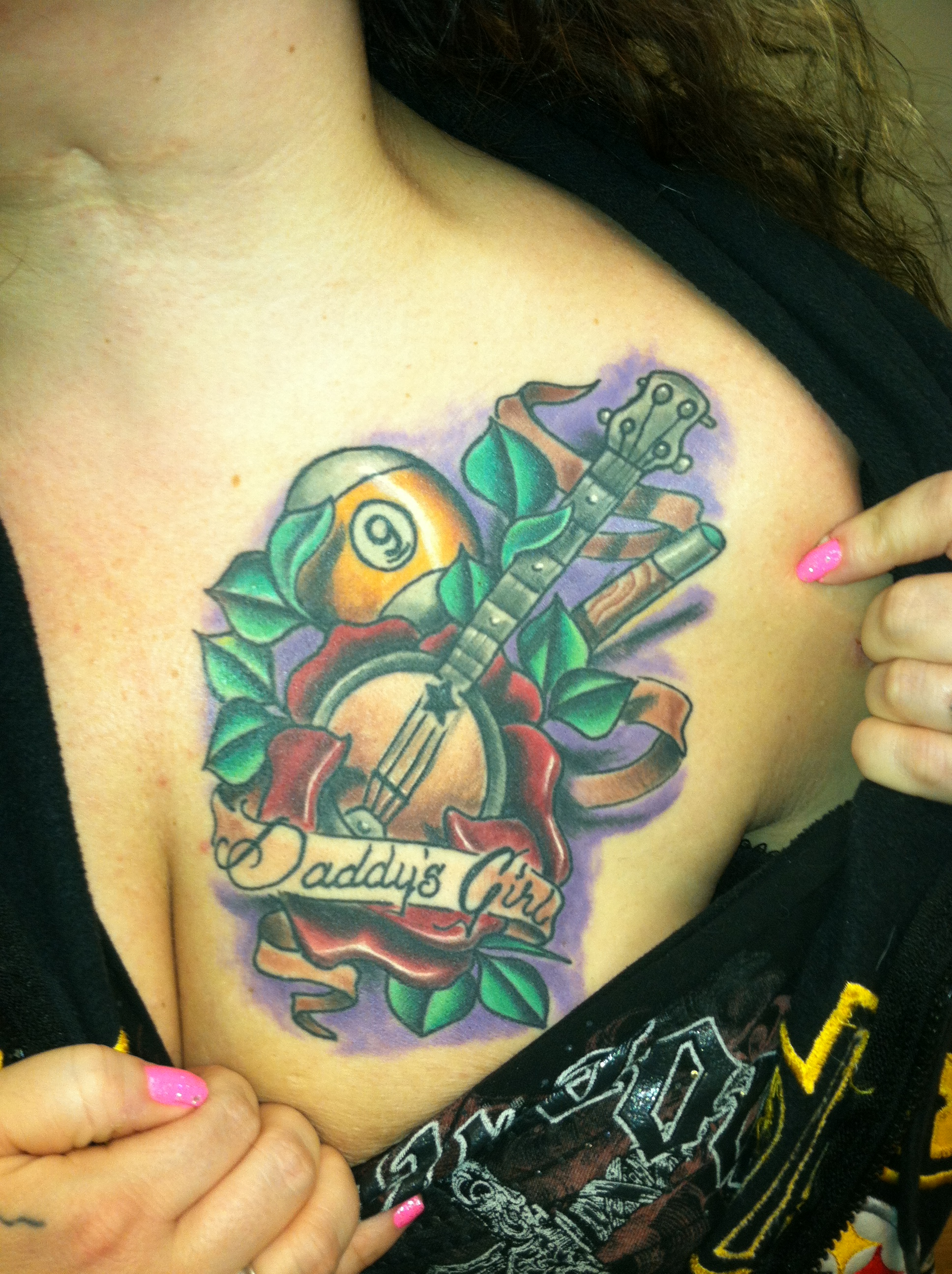 healed_custom_banjo_rose_billiard_ball_cue_stick_daddys_girl_chest_tattoo_david_meek_tattoos_true_til_death_tattoo_company_ashtabula_ohio