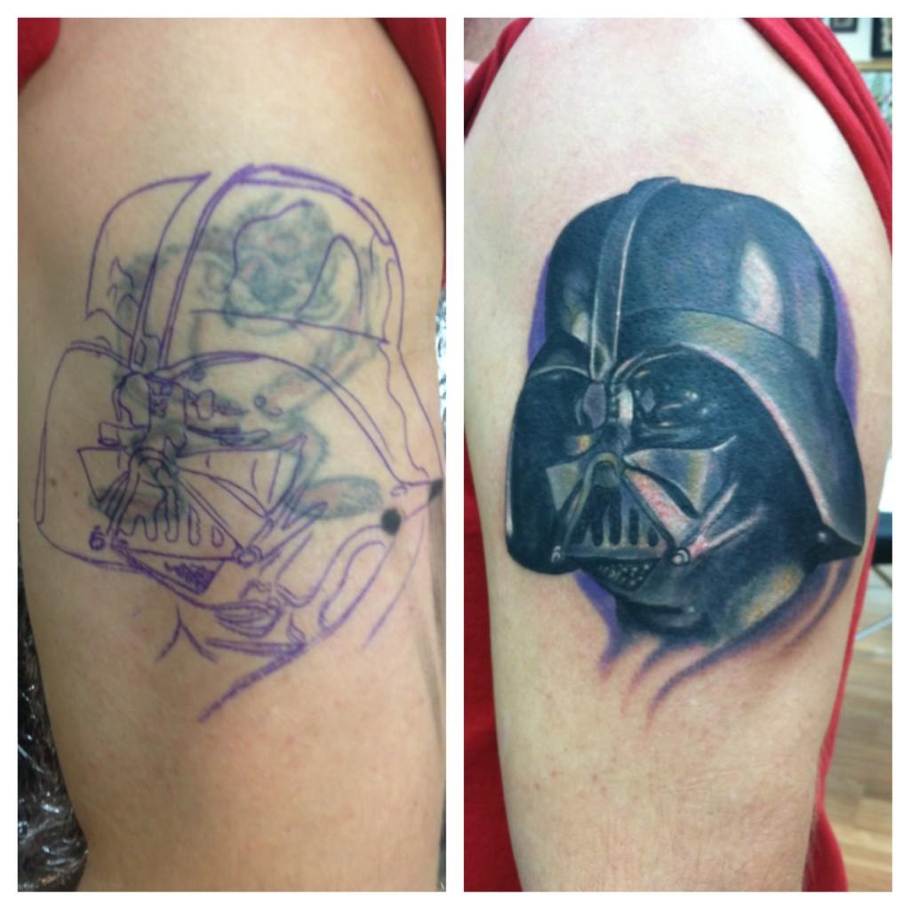 custom_realistic_darth_vader_star_wars_cover_up_half_sleeve_full_color_tattoo_david_meek_true_til_death_tattoo_company_ashtabula_ohio