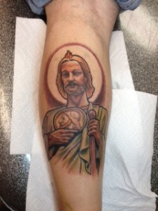 Illustrative St Jude religious color leg tattoo by David Meek at Fast Lane Tattoo Tucson Arizona Bishop rotarty eternal ink and kingpin tattoo supply