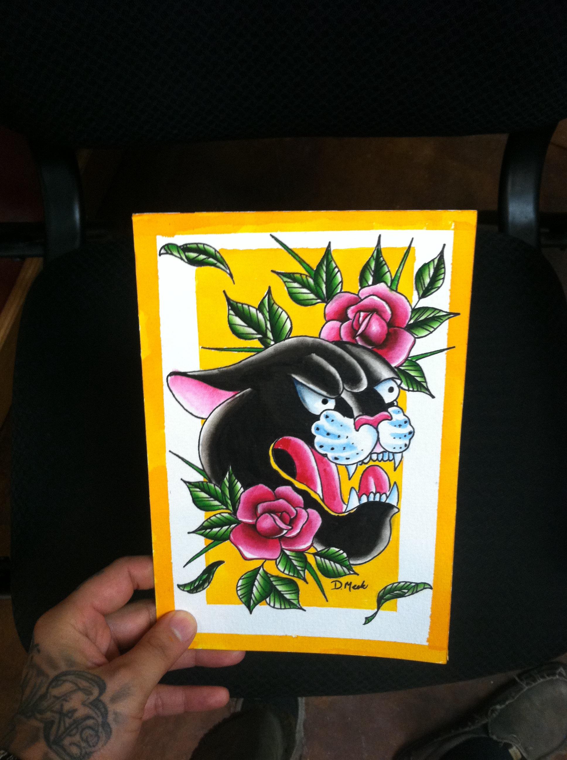 Original watercolor art for sale - 6x9 Original Watercolor Spitshade Tattoo Flash Painting By David Meek Tattoos Of Fast Lane Tattoo In