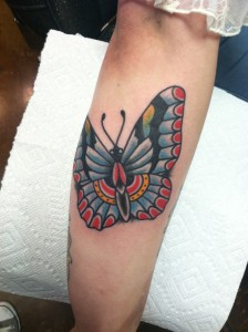 Traditional butterfly tattoo, tucson tattoo artist, Fast Lane Tatt oo, Tucson Arizona, Inked girls, Keith B Machineworks, Bishop Rotary, Kingpin Tattoo Supply, Eternal Ink