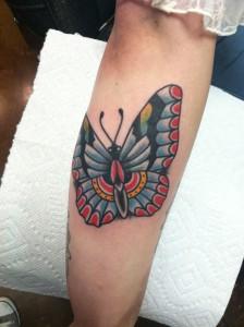 Traditional butterfly tattoo, tucson tattoo artist, Fast Lane Tatt oo, Tucson Arizona, Inked girls, Keith B Machineworks, Bishop Rotary, Kingpin Tattoo Supply, Eternal Ink