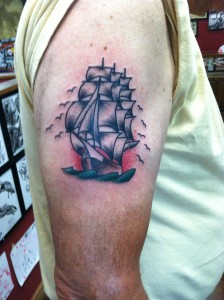 traditional ship tattoo, arm tattoo, tough guy tattoos, tucson tattoo artist, tattooer, fast lane tattoo, david meek tattoos, tattoo art, brooklyn pete, tattooed men, keith b machine works, eternal ink, kingpin tattoo supply, bishop rotary
