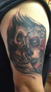 Realistic_Black_and_Grey_Dia_De_Los_Muertos_Day_of_the_Dead_Woman_Girl_With_Skull_Cover_up_Half_sleeve_realism_arm_tattoo_David_Meek_tattoo_Artist_Best_Tucson_Arizona_Fast_Lane_tattoo_shop_Alicante_Barcelona_Spain_Mediterranean