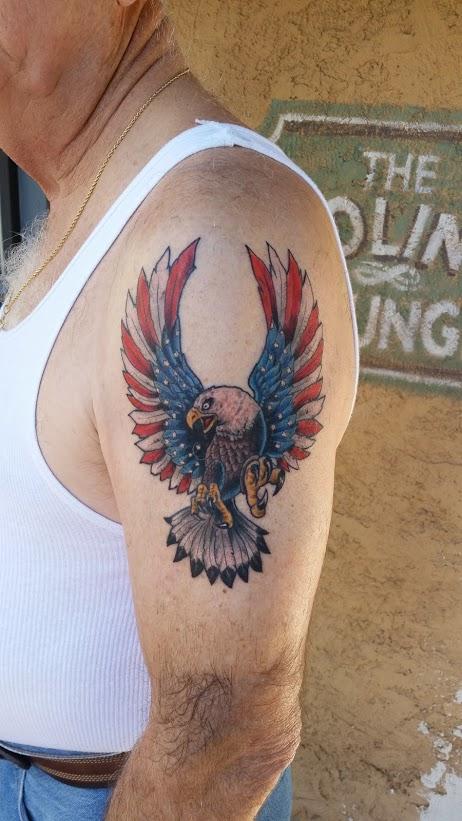 Patriotic american flag eagle arm tattoo tucson tattoo artist david meek